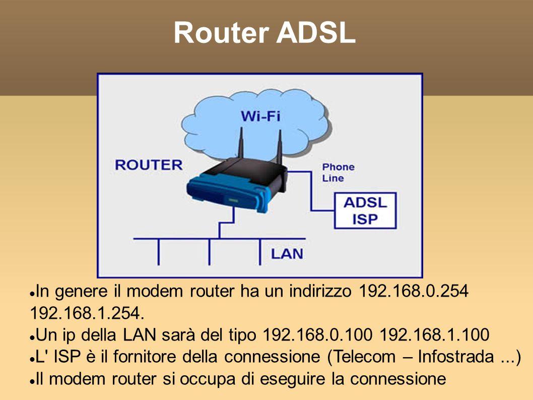 Router ADSL In genere il modem router ha un indirizzo 192.168.0.254 192.168.1.254. Un ip della LAN sarà del tipo 192.168.0.100 192.168.1.100 L' ISP è