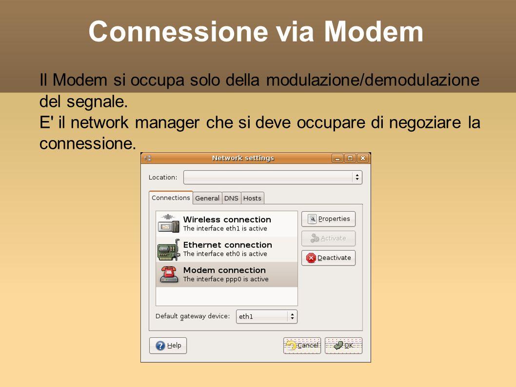 Connessione via Modem Il Modem si occupa solo della modulazione/demodulazione del segnale. E' il network manager che si deve occupare di negoziare la