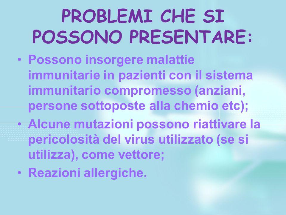 PROBLEMI CHE SI POSSONO PRESENTARE: Possono insorgere malattie immunitarie in pazienti con il sistema immunitario compromesso (anziani, persone sottop