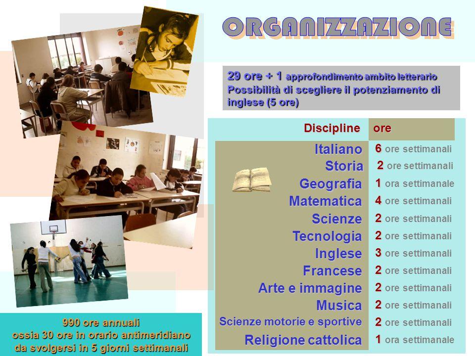 990 ore annuali ossia 30 ore in orario antimeridiano da svolgersi in 5 giorni settimanali Italiano 6 6 ore settimanali Storia 2 2 ore settimanali Geog