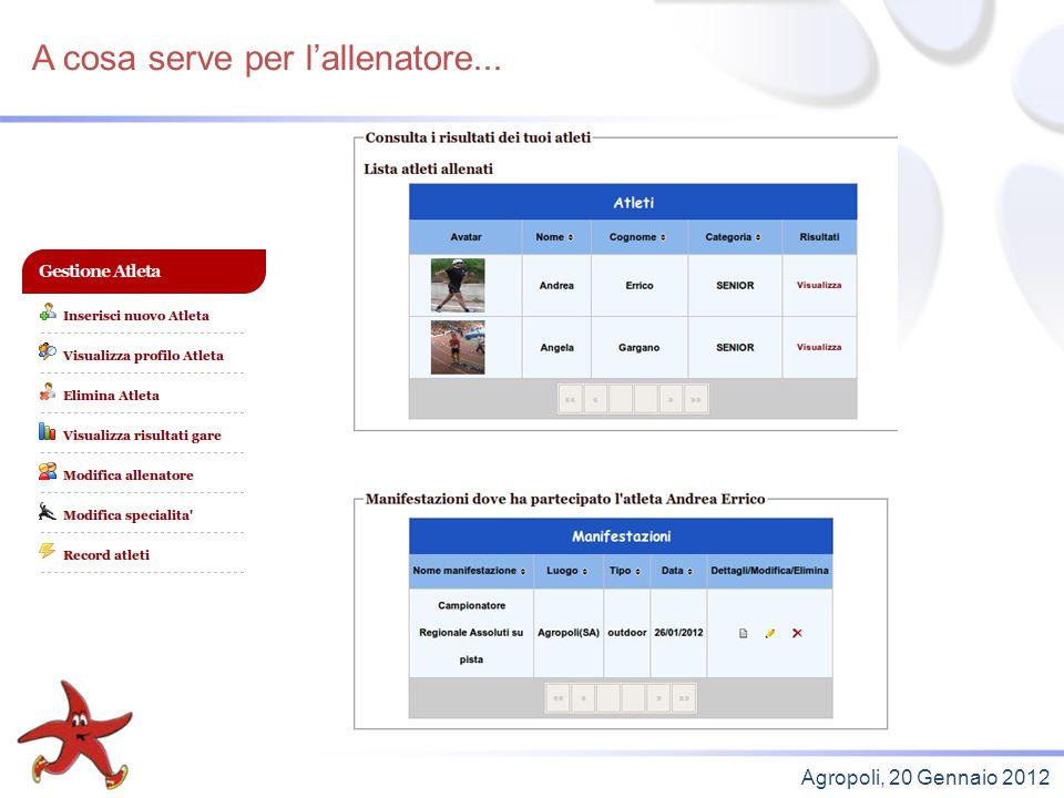 A cosa serve per latleta (1)... Agropoli, 20 Gennaio 2012