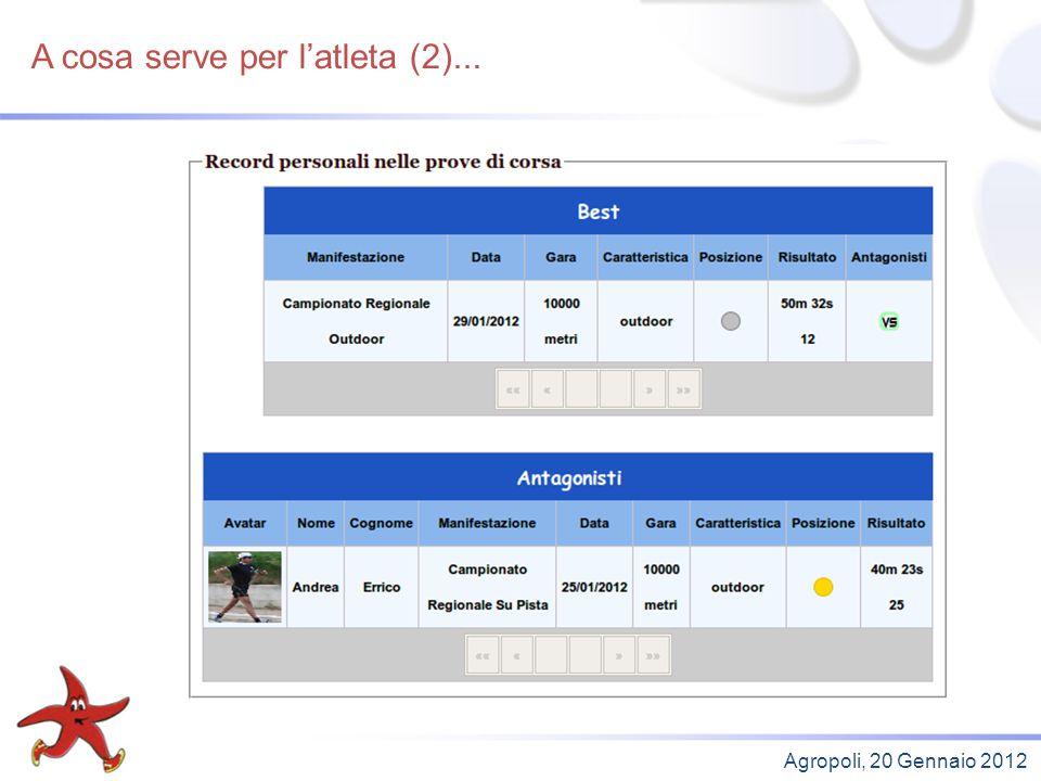 A cosa serve per latleta (2)... Agropoli, 20 Gennaio 2012