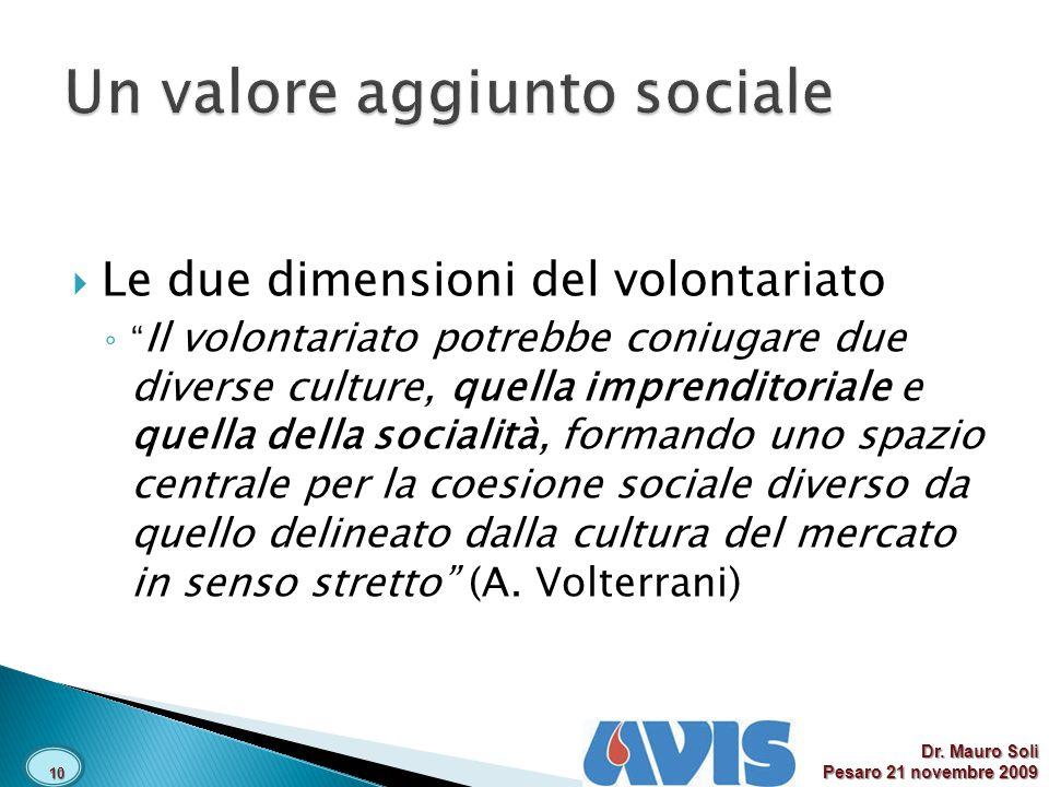 Le due dimensioni del volontariato Il volontariato potrebbe coniugare due diverse culture, quella imprenditoriale e quella della socialità, formando uno spazio centrale per la coesione sociale diverso da quello delineato dalla cultura del mercato in senso stretto (A.