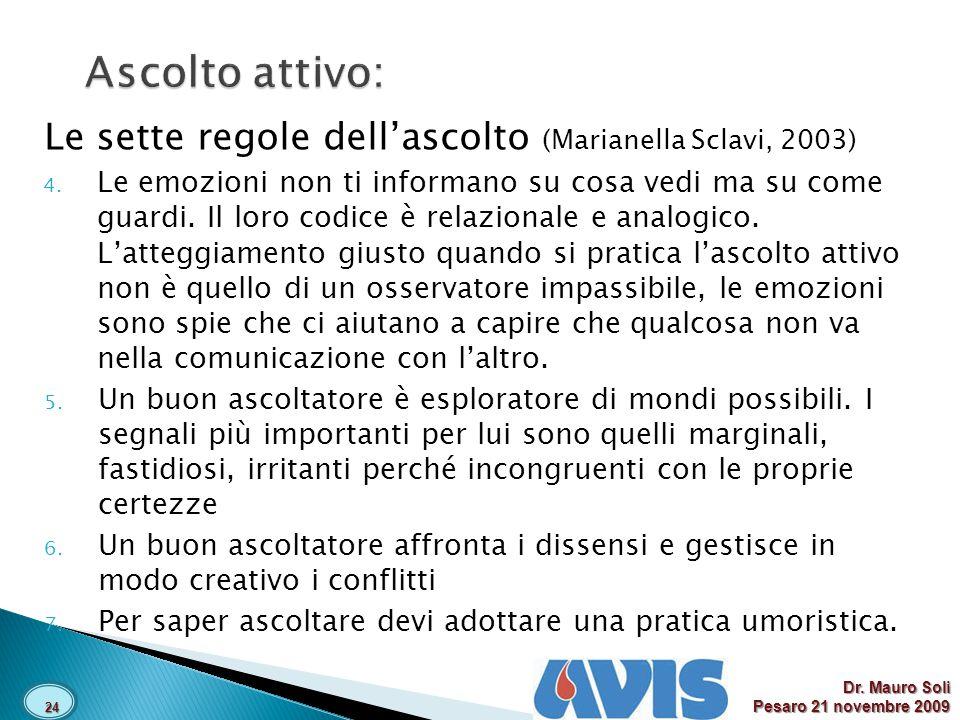 Le sette regole dellascolto (Marianella Sclavi, 2003) 4.