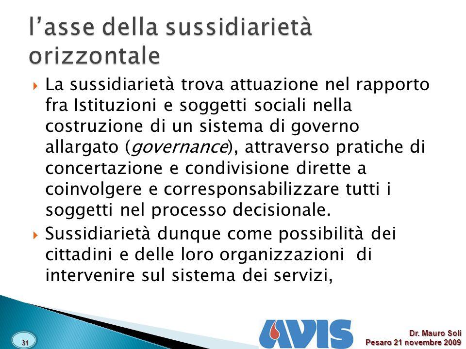 La sussidiarietà trova attuazione nel rapporto fra Istituzioni e soggetti sociali nella costruzione di un sistema di governo allargato (governance), attraverso pratiche di concertazione e condivisione dirette a coinvolgere e corresponsabilizzare tutti i soggetti nel processo decisionale.