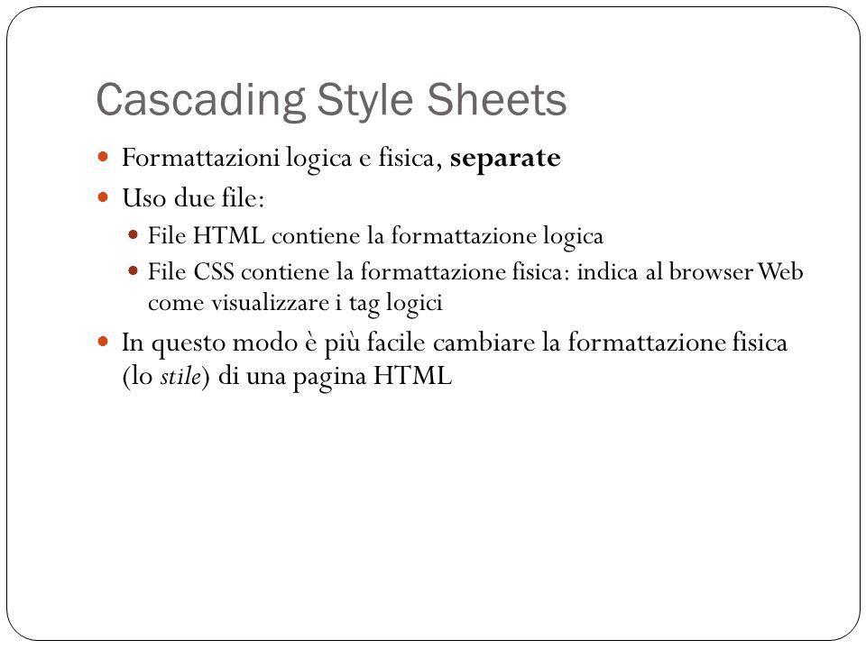 Cascading Style Sheets Formattazioni logica e fisica, separate Uso due file: File HTML contiene la formattazione logica File CSS contiene la formattaz