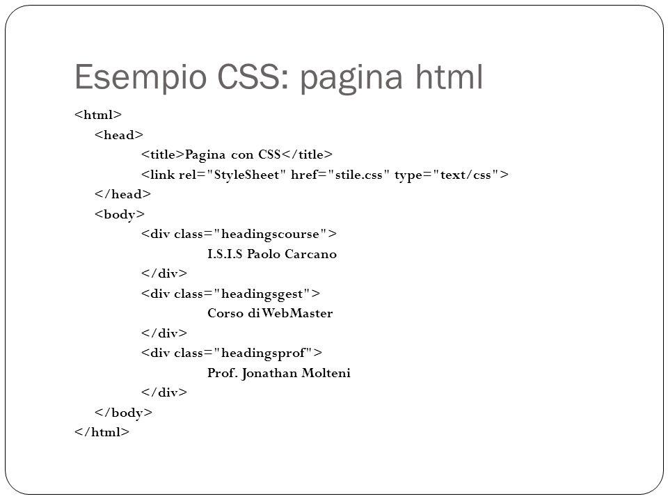 Esempio CSS: pagina html Pagina con CSS I.S.I.S Paolo Carcano Corso di WebMaster Prof. Jonathan Molteni