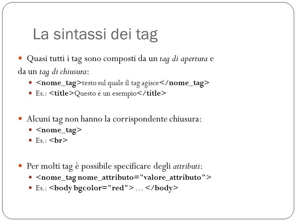 La sintassi dei tag Quasi tutti i tag sono composti da un tag di apertura e da un tag di chiusura: testo sul quale il tag agisce Es.: Questo è un esem