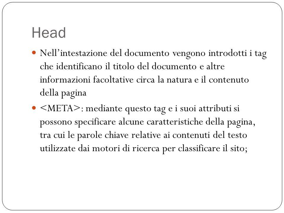 Head Nellintestazione del documento vengono introdotti i tag che identificano il titolo del documento e altre informazioni facoltative circa la natura