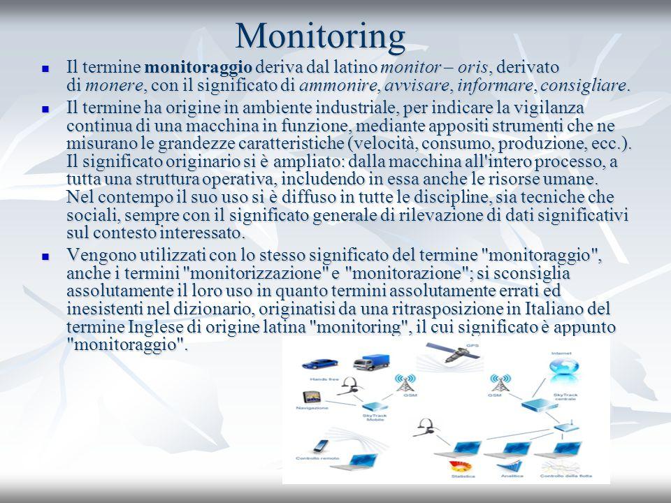 Monitoring Il termine monitoraggio deriva dal latino monitor – oris, derivato di monere, con il significato di ammonire, avvisare, informare, consigli