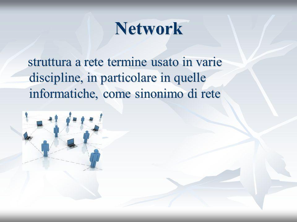 Network struttura a rete termine usato in varie discipline, in particolare in quelle informatiche, come sinonimo di rete struttura a rete termine usat