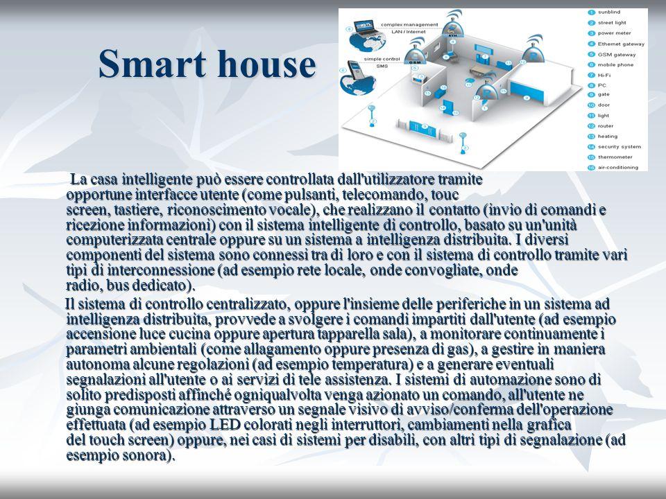 Smart house La casa intelligente può essere controllata dall'utilizzatore tramite opportune interfacce utente (come pulsanti, telecomando, touc screen