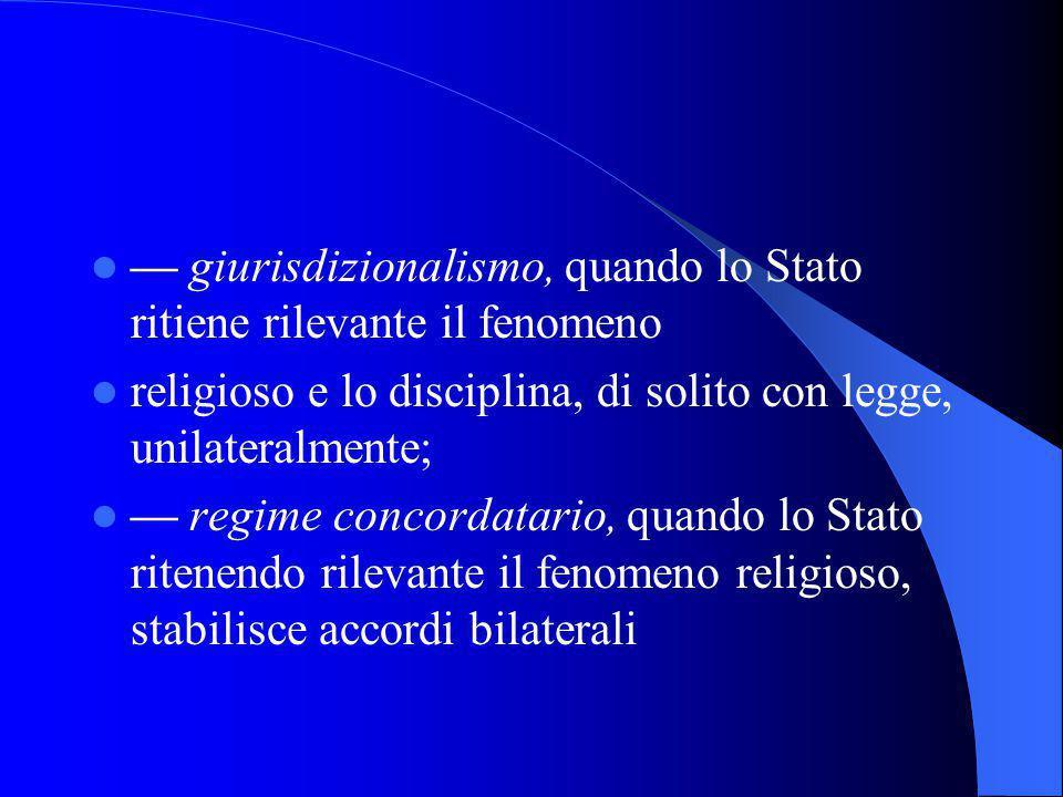 LO STATO E GLI ALTRI ORDINAMENTI:STATO E CHIESA I rapporti tra lo Stato e la Chiesa possono ispirarsi ai seguenti principi: laicità, o irrilevanza per