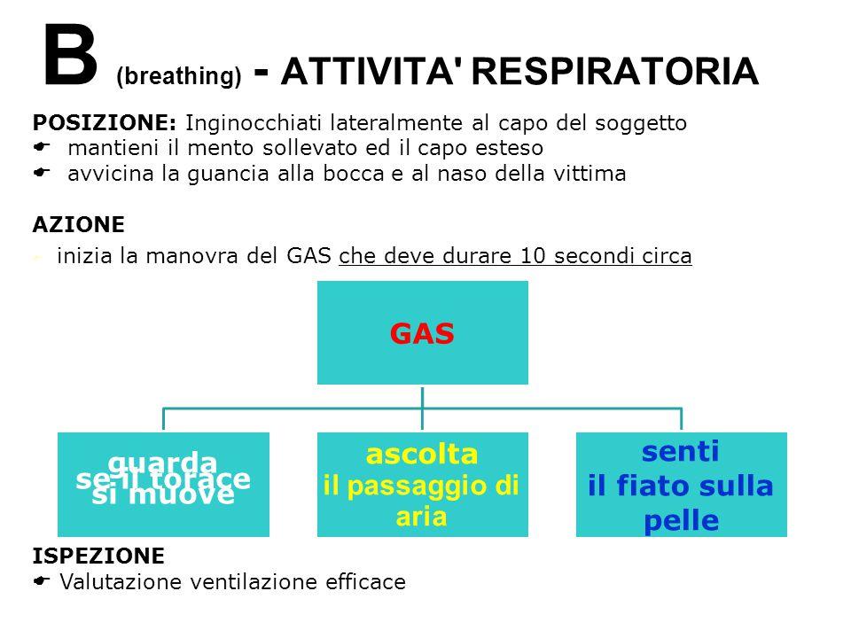 B (breathing) - ATTIVITA' RESPIRATORIA POSIZIONE: Inginocchiati lateralmente al capo del soggetto mantieni il mento sollevato ed il capo esteso avvici