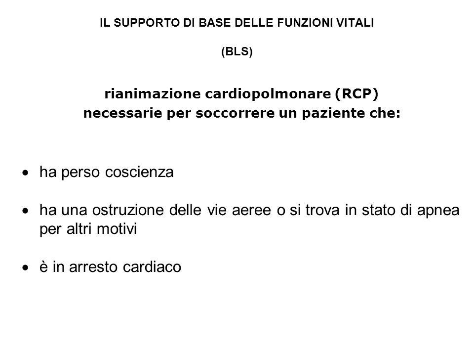 IL SUPPORTO DI BASE DELLE FUNZIONI VITALI (BLS) rianimazione cardiopolmonare (RCP) necessarie per soccorrere un paziente che: ha perso coscienza ha un