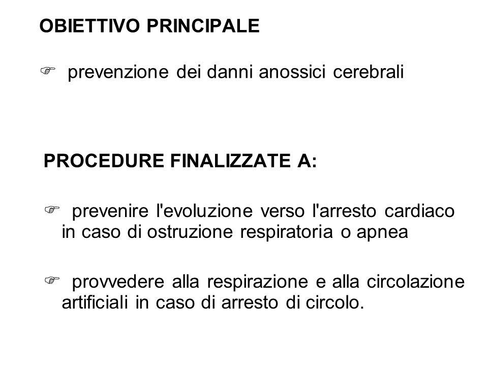 OBIETTIVO PRINCIPALE prevenzione dei danni anossici cerebrali PROCEDURE FINALIZZATE A: prevenire l'evoluzione verso l'arresto cardiaco in caso di ostr