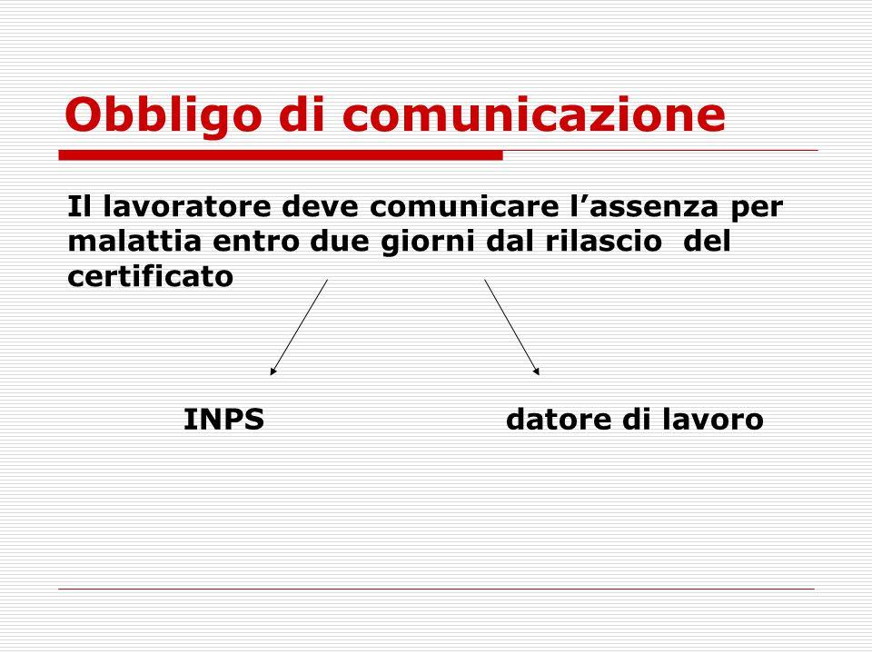 Obbligo di comunicazione Il lavoratore deve comunicare lassenza per malattia entro due giorni dal rilascio del certificato INPS datore di lavoro
