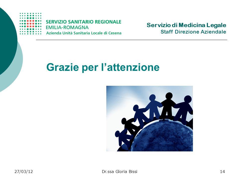 27/03/12Dr.ssa Gloria Bissi14 Grazie per lattenzione Servizio di Medicina Legale Staff Direzione Aziendale
