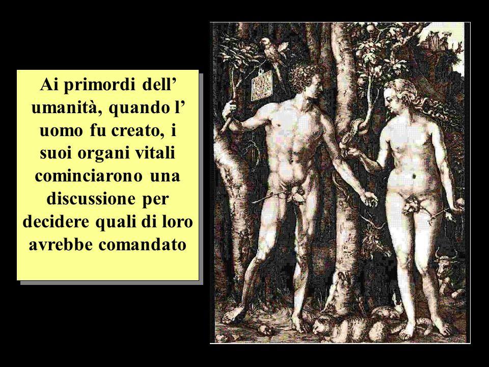 Ai primordi dell umanità, quando l uomo fu creato, i suoi organi vitali cominciarono una discussione per decidere quali di loro avrebbe comandato
