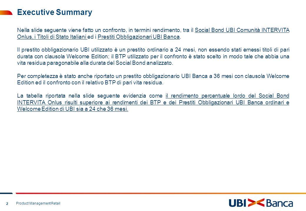 Product Management Retail 3 Confronto Social Bond, BTP e Prestiti Ordinari/Welcome Edition