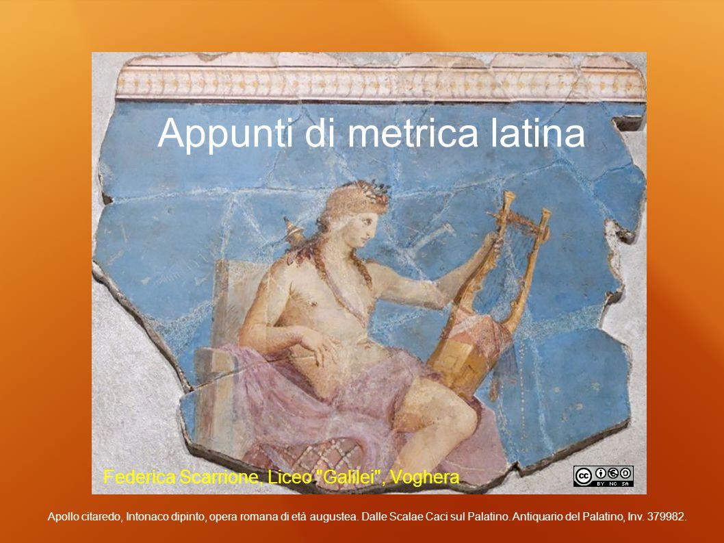 METRICA LATINA: il piede Si dice PIEDE l unità di misura metrica, cioè un gruppo di sillabe brevi e lunghe riunite sotto un ICTUS (= accento ritmico).