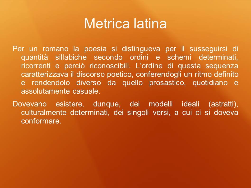 Metrica latina Per un romano la poesia si distingueva per il susseguirsi di quantità sillabiche secondo ordini e schemi determinati, ricorrenti e perc