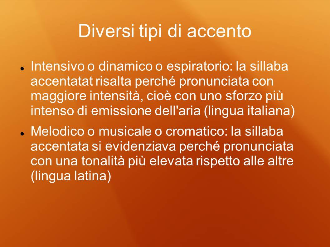 Diversi tipi di accento Intensivo o dinamico o espiratorio: la sillaba accentatat risalta perché pronunciata con maggiore intensità, cioè con uno sfor