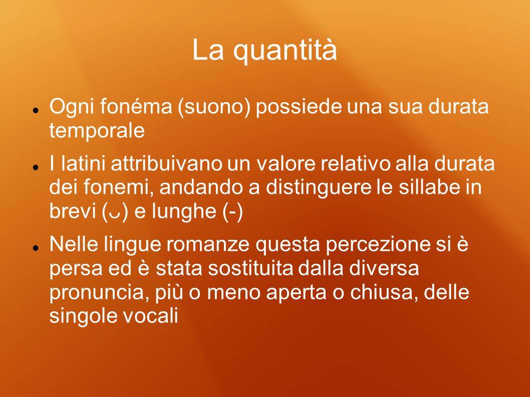 La quantità Ogni fonéma (suono) possiede una sua durata temporale I latini attribuivano un valore relativo alla durata dei fonemi, andando a distingue