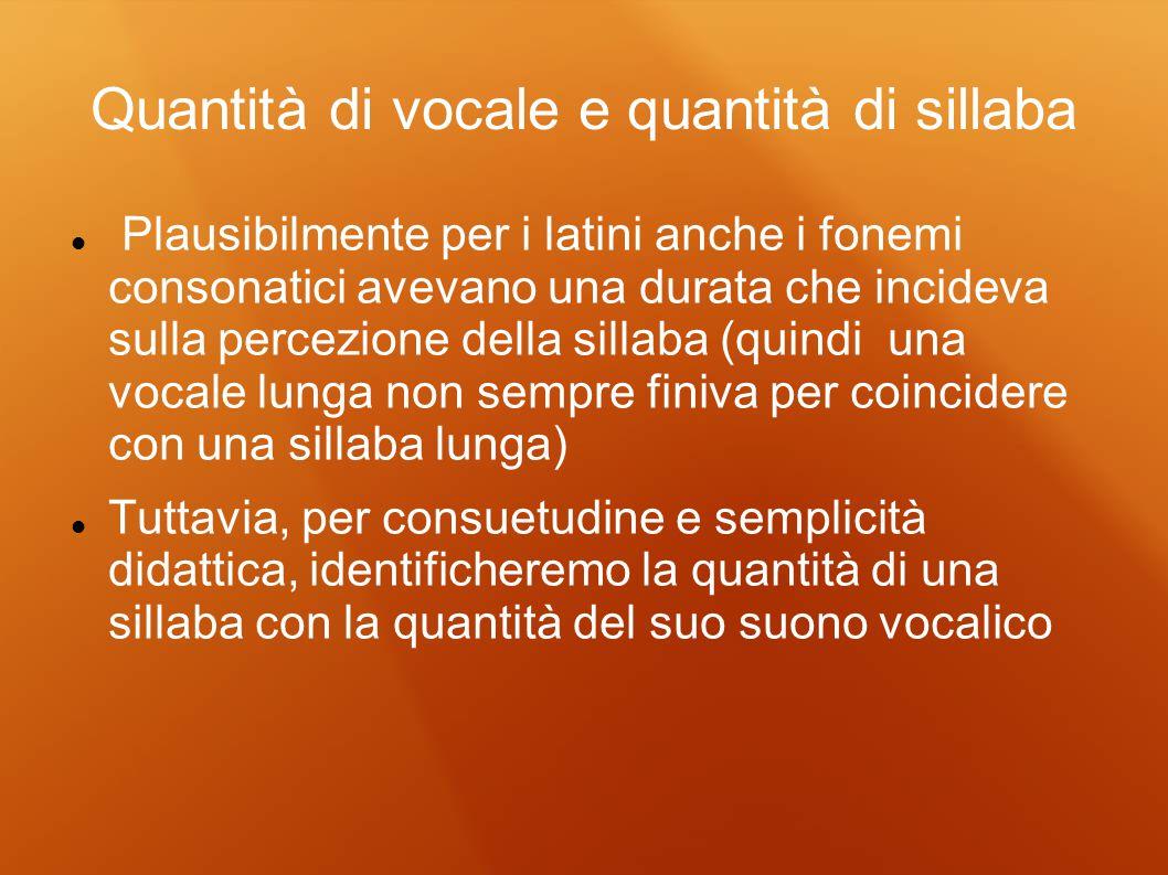 Quantità di vocale e quantità di sillaba Plausibilmente per i latini anche i fonemi consonatici avevano una durata che incideva sulla percezione della