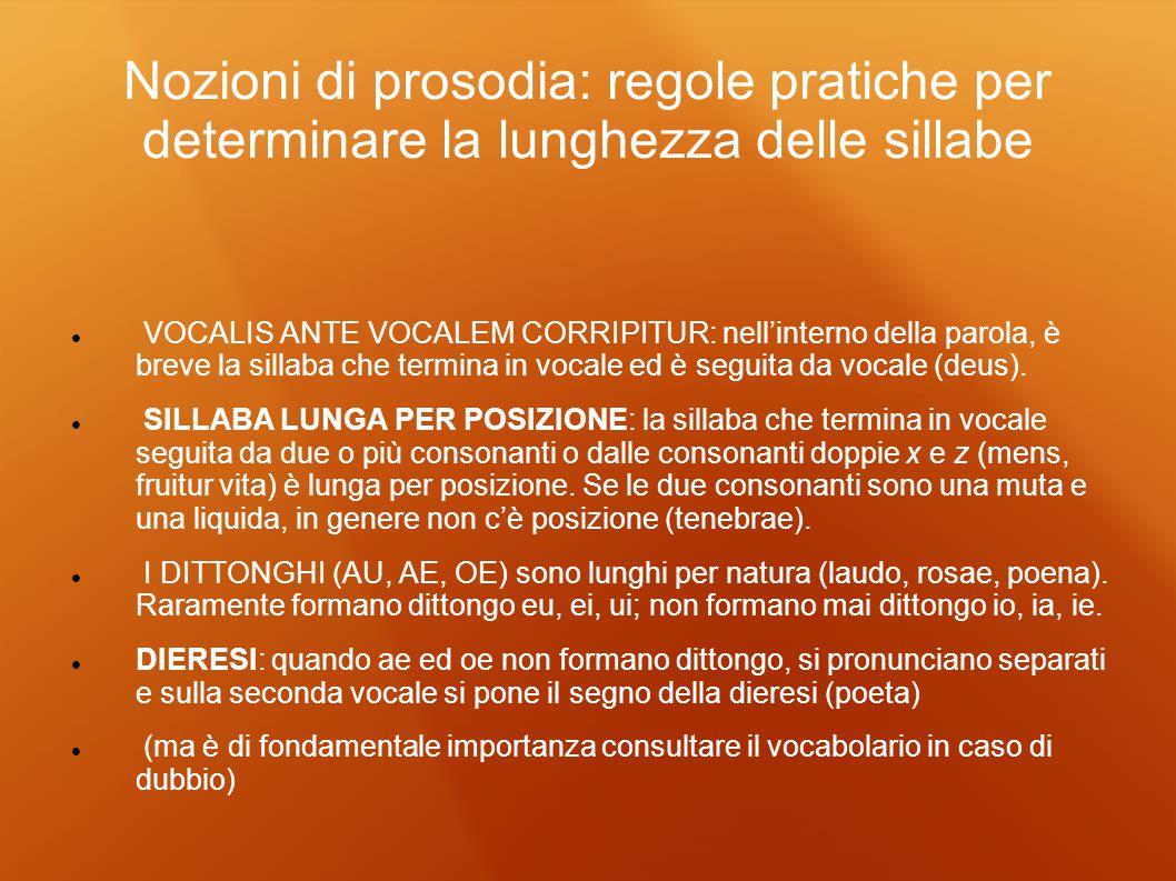 Nozioni di prosodia: regole pratiche per determinare la lunghezza delle sillabe VOCALIS ANTE VOCALEM CORRIPITUR: nellinterno della parola, è breve la