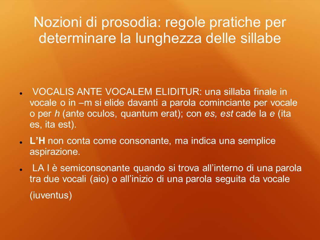Nozioni di prosodia: regole pratiche per determinare la lunghezza delle sillabe VOCALIS ANTE VOCALEM ELIDITUR: una sillaba finale in vocale o in –m si