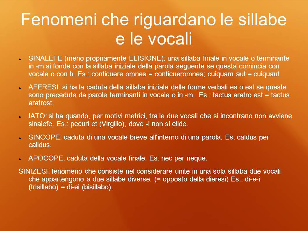 Fenomeni che riguardano le sillabe e le vocali SINALEFE (meno propriamente ELISIONE): una sillaba finale in vocale o terminante in -m si fonde con la