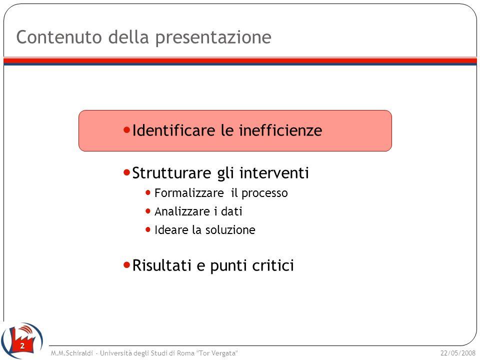 2 Contenuto della presentazione Identificare le inefficienze Strutturare gli interventi Formalizzare il processo Analizzare i dati Ideare la soluzione