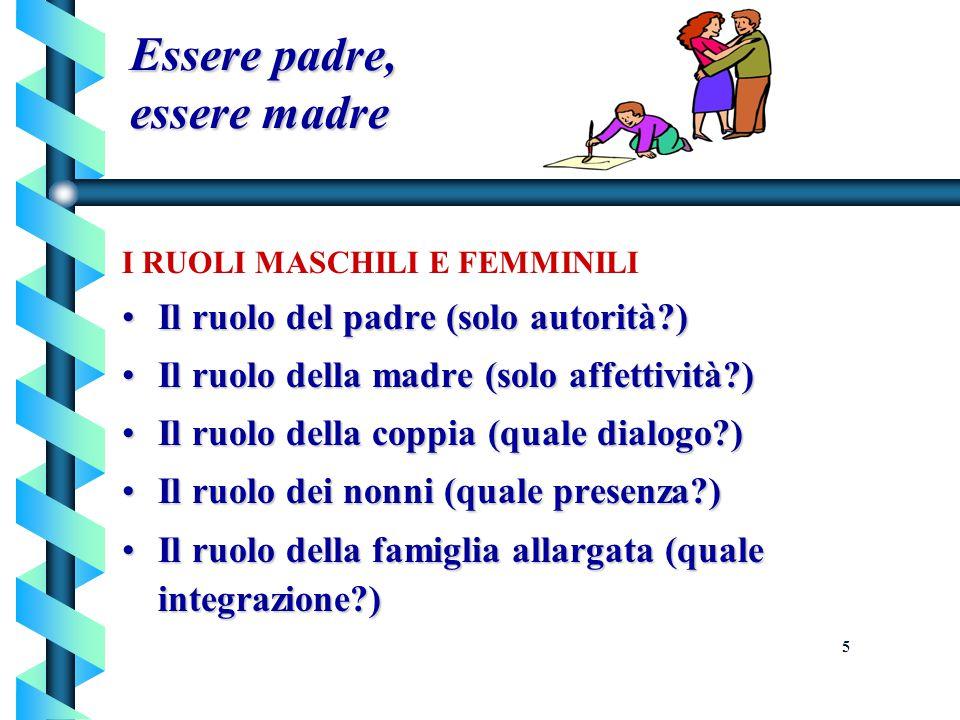 Essere padre, essere madre I RUOLI MASCHILI E FEMMINILI Il ruolo del padre (solo autorità?)Il ruolo del padre (solo autorità?) Il ruolo della madre (s