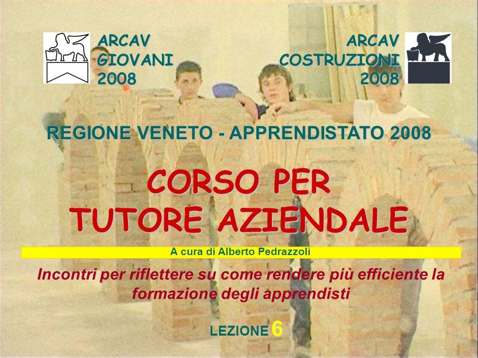 ARCAV GIOVANI 2008 ARCAV COSTRUZIONI 2008 REGIONE VENETO - APPRENDISTATO 2008 CORSO PER TUTORE AZIENDALE Incontri per riflettere su come rendere più e