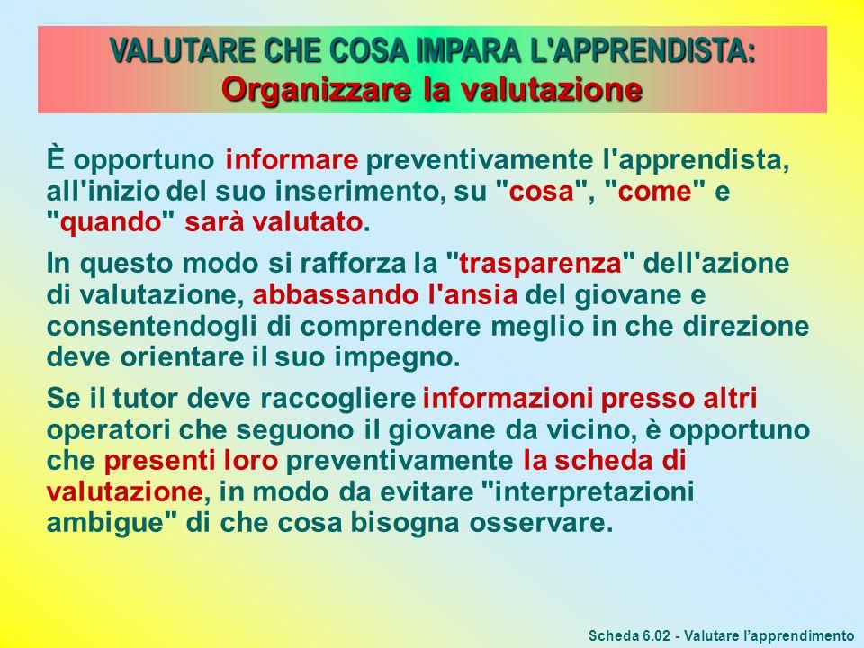 VALUTARE CHE COSA IMPARA L'APPRENDISTA: Organizzare la valutazione Scheda 6.02 - Valutare lapprendimento È opportuno informare preventivamente l'appre