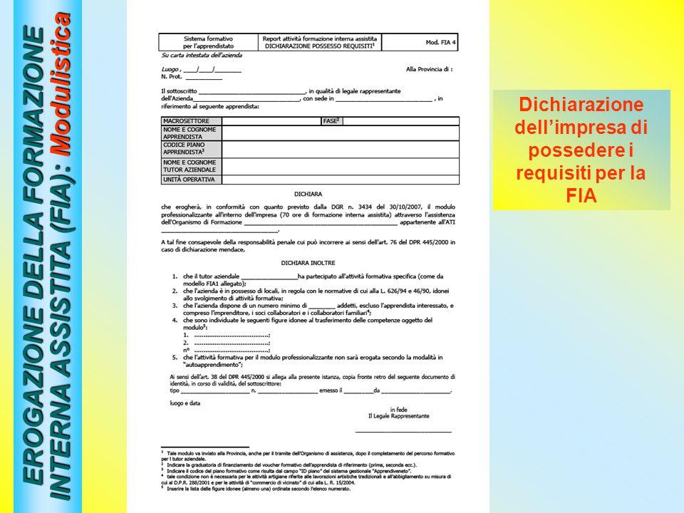 EROGAZIONE DELLA FORMAZIONE INTERNA ASSISTITA (FIA): Modulistica Dichiarazione dellimpresa di possedere i requisiti per la FIA