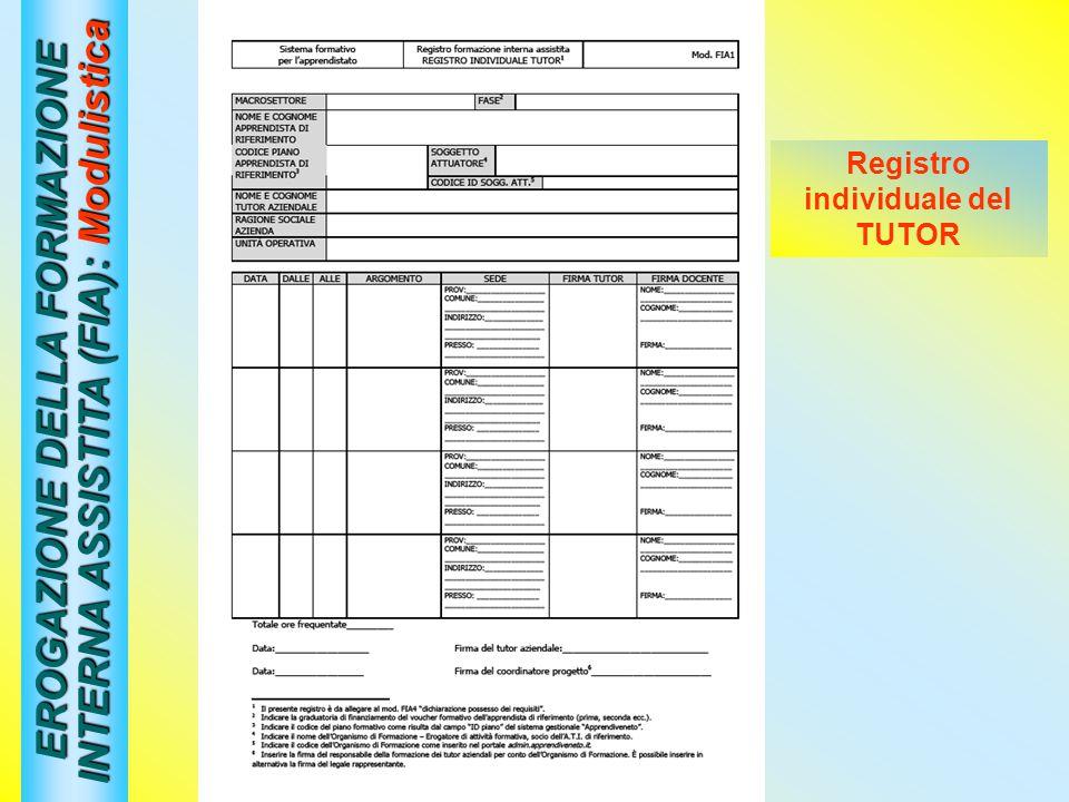 EROGAZIONE DELLA FORMAZIONE INTERNA ASSISTITA (FIA): Modulistica Registro individuale del TUTOR