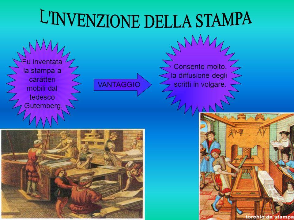 Fu inventata la stampa a caratteri mobili dal tedesco Gutemberg.