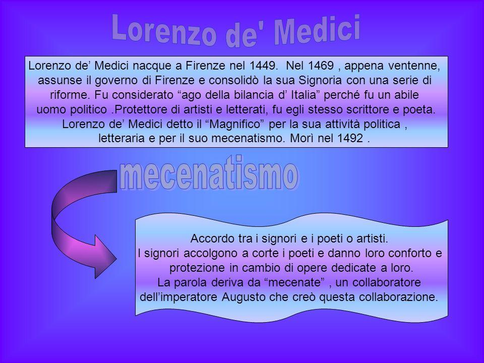 Lorenzo de Medici nacque a Firenze nel 1449.