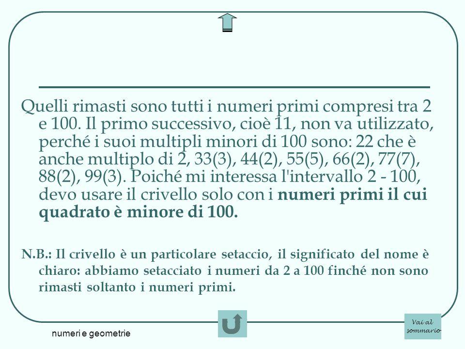 numeri e geometrie Quelli rimasti sono tutti i numeri primi compresi tra 2 e 100. Il primo successivo, cioè 11, non va utilizzato, perché i suoi multi
