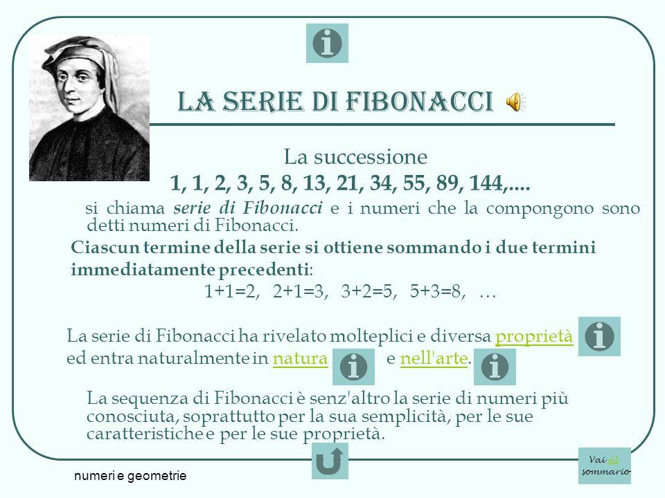 numeri e geometrie La serie di fibonacci La successione 1, 1, 2, 3, 5, 8, 13, 21, 34, 55, 89, 144,.... si chiama serie di Fibonacci e i numeri che la