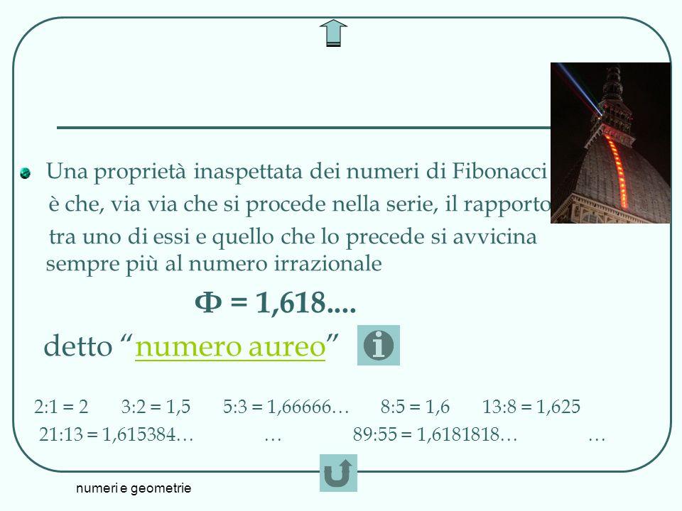 numeri e geometrie Una proprietà inaspettata dei numeri di Fibonacci è che, via via che si procede nella serie, il rapporto tra uno di essi e quello c