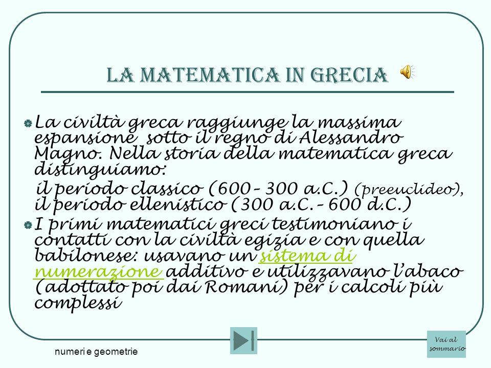 numeri e geometrie La matematica in grecia La civiltà greca raggiunge la massima espansione sotto il regno di Alessandro Magno. Nella storia della mat