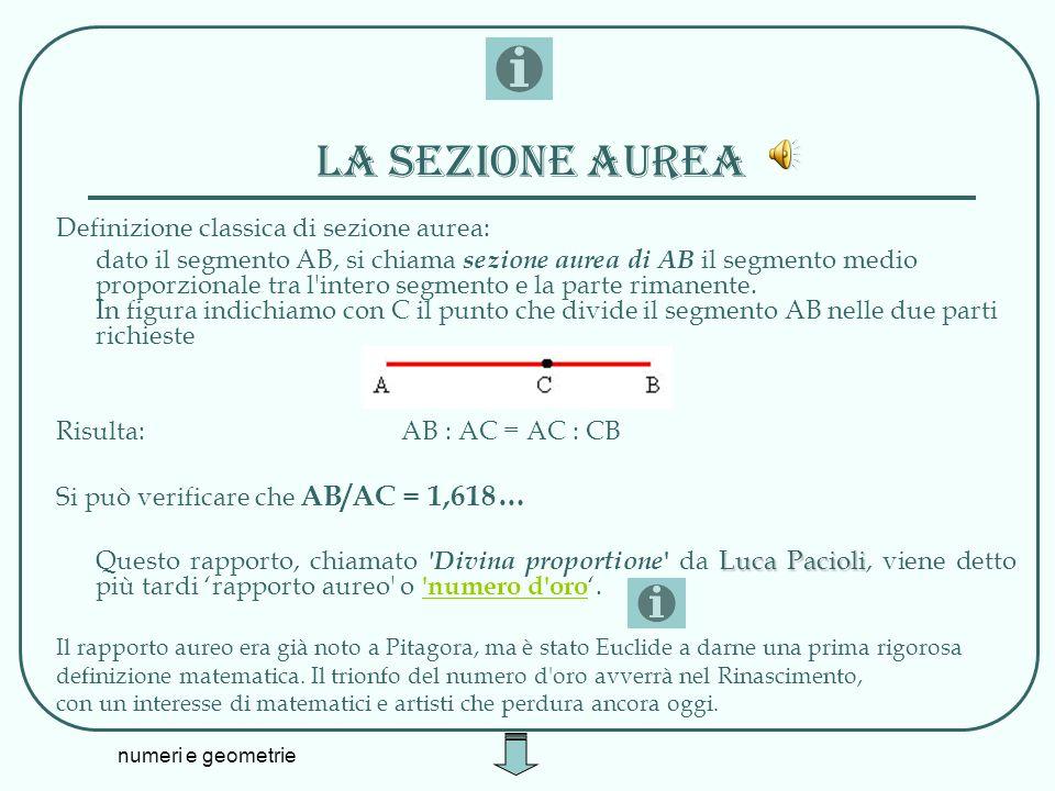 numeri e geometrie La sezione aurea Definizione classica di sezione aurea: dato il segmento AB, si chiama sezione aurea di AB il segmento medio propor