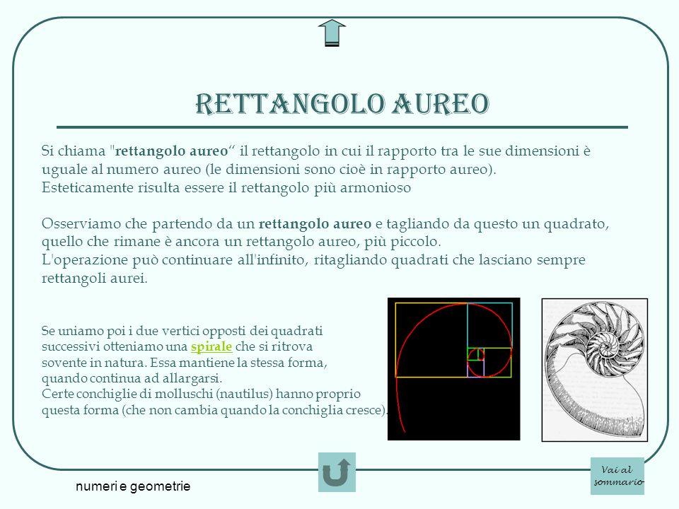 numeri e geometrie Rettangolo aureo Si chiama
