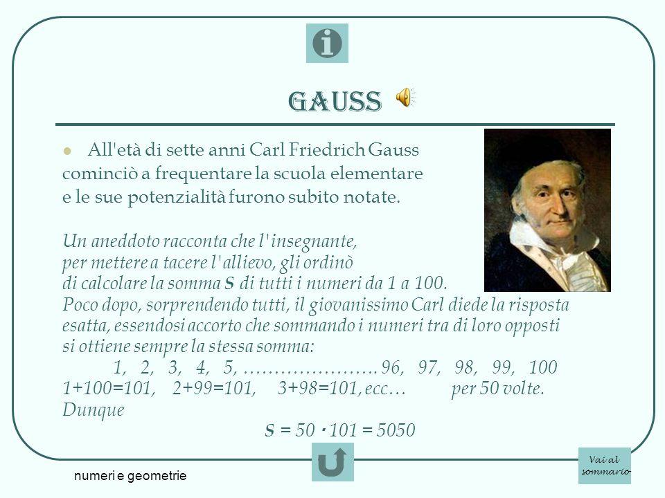 numeri e geometrie Gauss All'età di sette anni Carl Friedrich Gauss cominciò a frequentare la scuola elementare e le sue potenzialità furono subito no