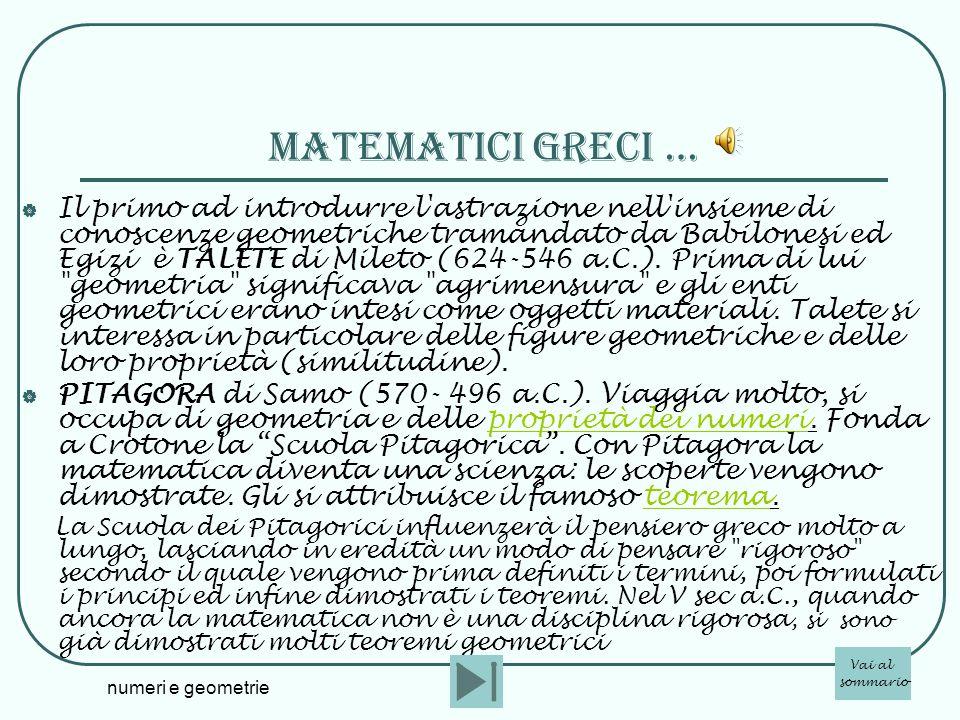 numeri e geometrie matematicI greci … Il primo ad introdurre l'astrazione nell'insieme di conoscenze geometriche tramandato da Babilonesi ed Egizi è T
