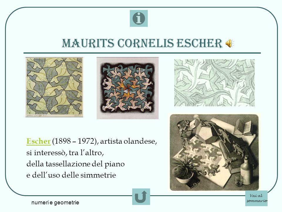 numeri e geometrie MAURITS CORNELIS ESCHER Escher Escher (1898 – 1972), artista olandese, si interessò, tra laltro, della tassellazione del piano e de
