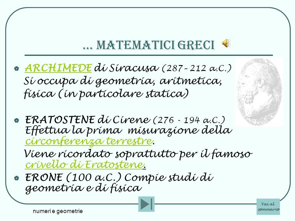 numeri e geometrie … matematicI greci ARCHIMEDE di Siracusa (287– 212 a.C.) ARCHIMEDE Si occupa di geometria, aritmetica, fisica (in particolare stati